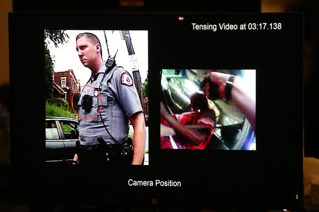 Thurs., Nov. 3, 2016: Expert video analyst Greg Fredericks of Forensic Video Solutions goes through millisecond intervals of footage from the bodycam Ray Tensing was wearing when he shot and killed Sam DuBose. (POOL, The Enquirer/ Cara Owsley)