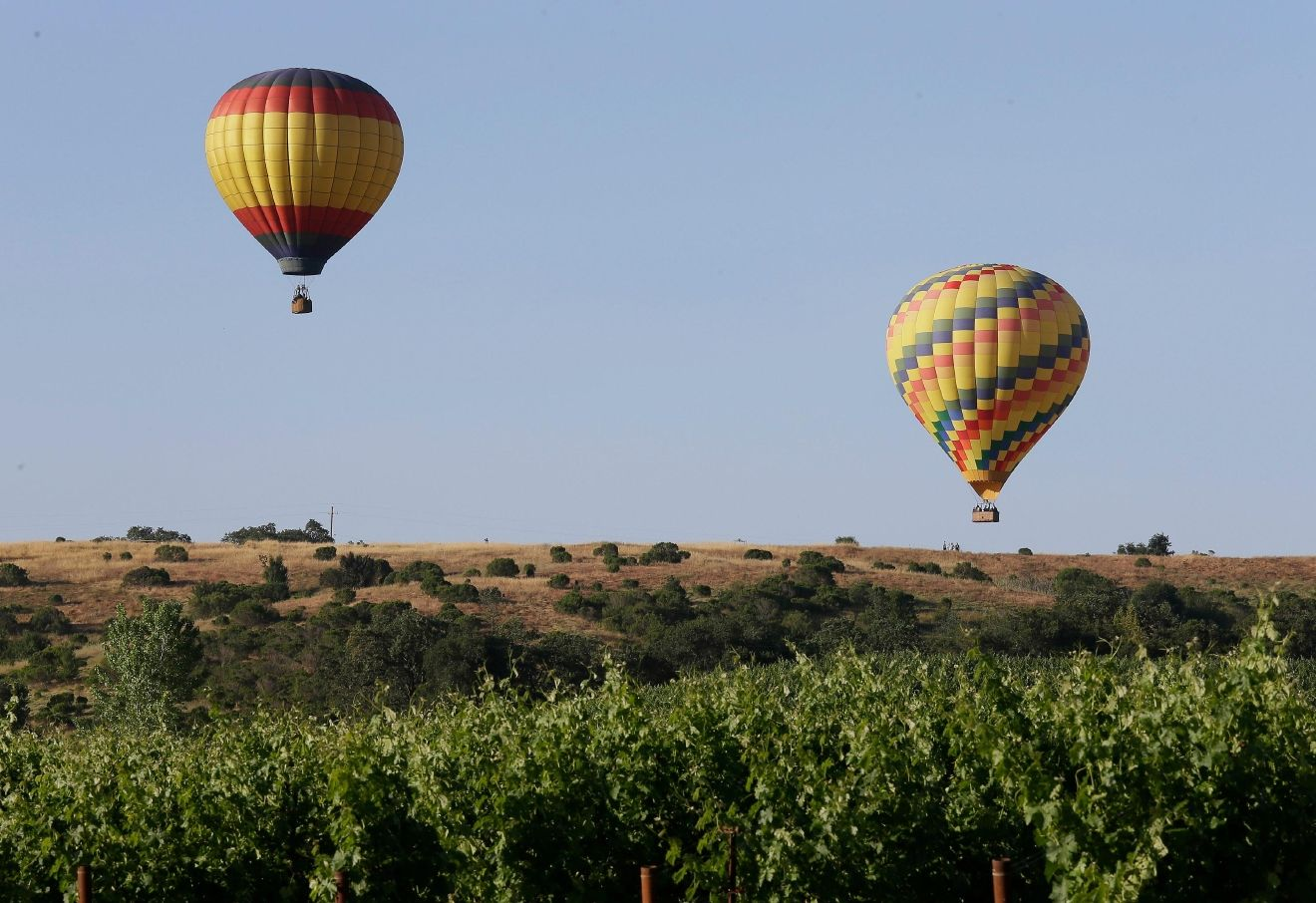 In this photo taken Tuesday, May 31, 2016, a pair of hot air balloons with Napa Valley Aloft fly over vineyards in Napa, Calif.{ } (AP Photo/Eric Risberg)
