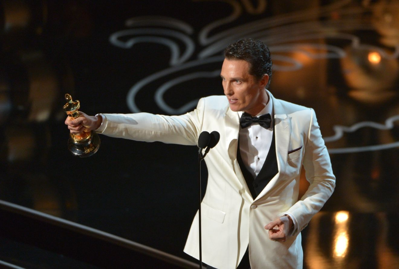"Matthew McConaughey accepts the award for best actor in a leading role for ""Dallas Buyers Club"" on stage during the Oscars at the Dolby Theatre on Sunday, March 2, 2014, in Los Angeles.  (Photo by John Shearer/Invision/AP)"