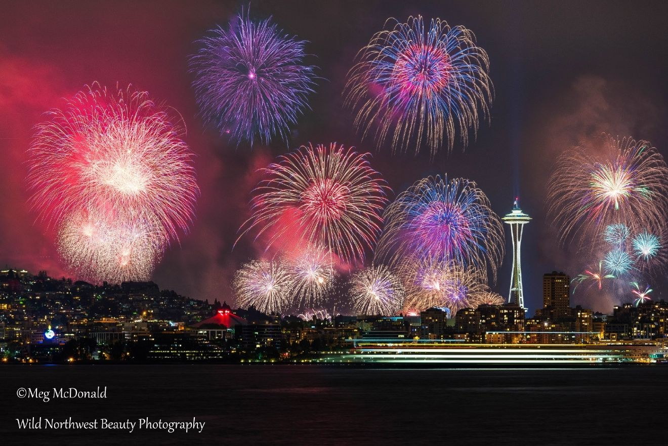 Fireworks light up the skies over Seattle in this long-exposure photo on July 4th, 2016 (Photo: Wild Northwest Beauty Photography / Seattle)
