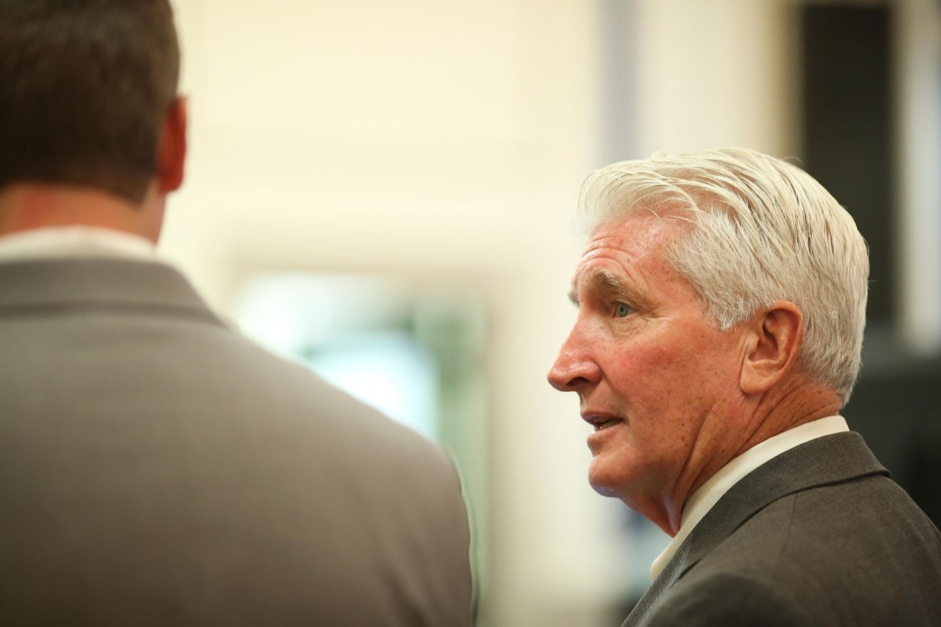 Ray Tensing's lawyer, Stew Mathews, speaks to his client Tuesday, November 1, 2016 in the courtroom of Common Pleas Judge Megan Shanahan in the Hamilton County Courthouse. The former University of Cincinnati police officer is charged with murder in the shooting death of Sam DuBose. (Carrie Cochran)
