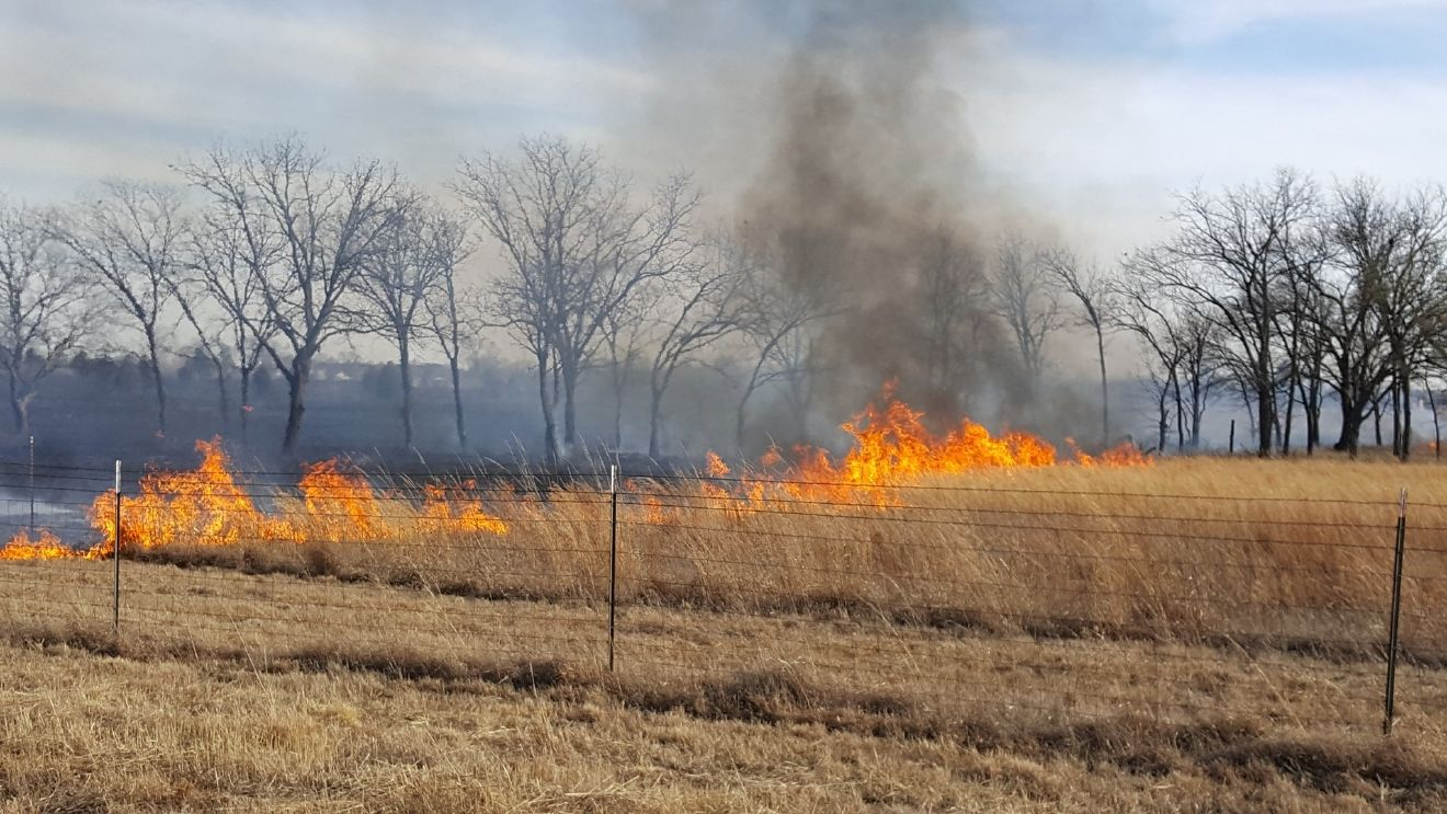 A grass fire burns in March of 2017 near the Grand Casino. (KOKH/FILE)