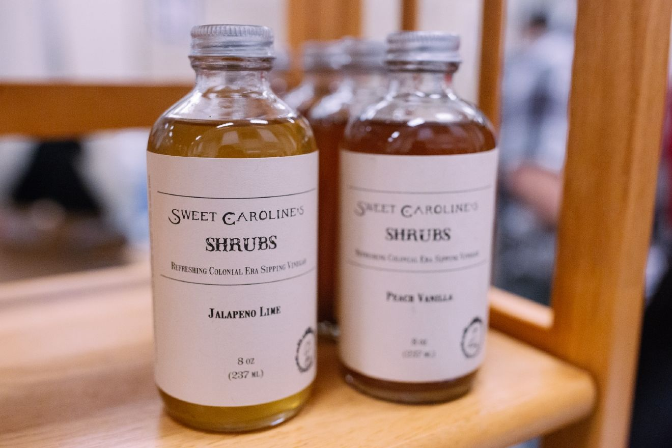 Sweet Caroline's jams are made in small batches the old fashioned way, using copper preserve pots.  They also sell Shrubs which are sweetened vinegar-based fruit syrups used primarily for drink-making. (Image: Joshua Lewis / Seattle Refined)