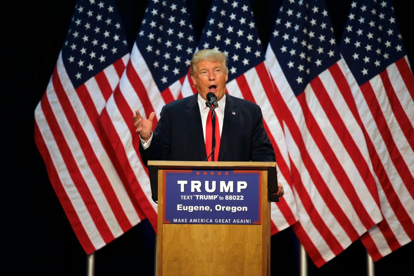 VIDEO: Full video of Donald Trump speech in Eugene, Ore. PHOTO: Republican presidential candidate Donald Trump speaks during a rally in Eugene, Ore., Friday, May 6, 2016. (AP Photo/Ted S. Warren)