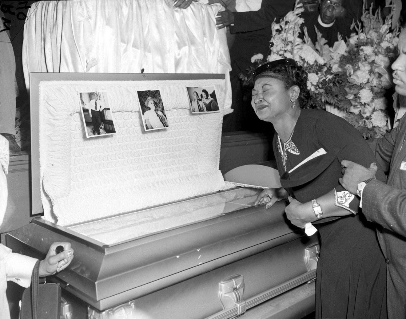 FILE- In this Sept. 6, 1955 file photo, Mamie Till Mobley weeps at her son's funeral in Chicago. (AP Photo/Chicago Sun-Times) /Chicago Sun-Times via AP)