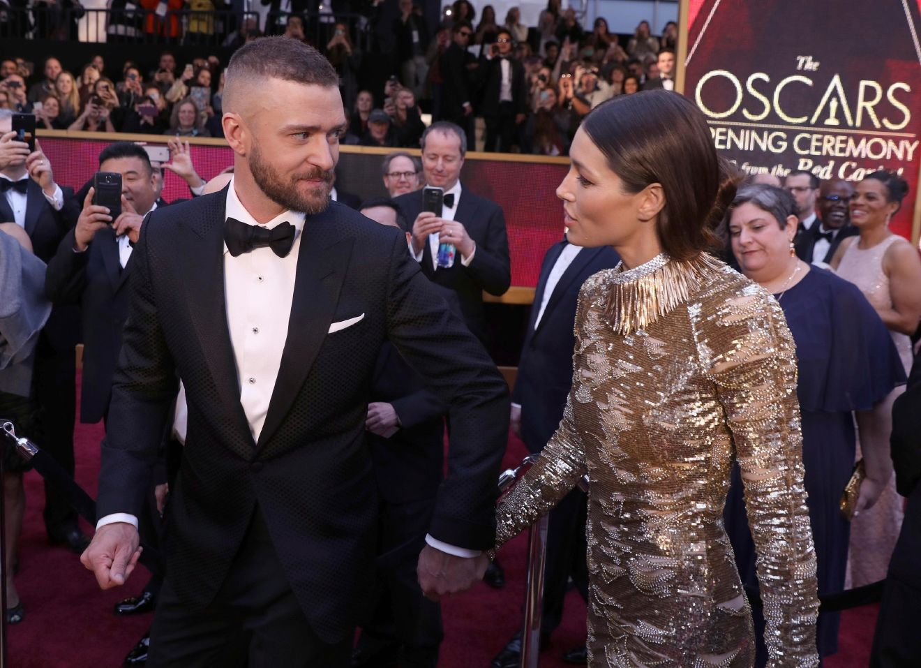 Justin Timberlake, left, and Jessica Biel arrive at the Oscars on Sunday, Feb. 26, 2017, at the Dolby Theatre in Los Angeles. (Photo by Matt Sayles/Invision/AP)