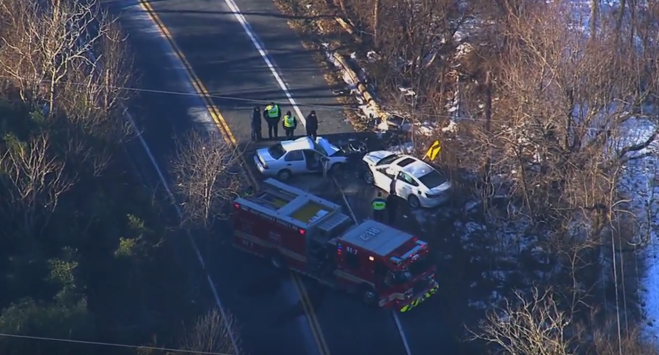 Serious car collision under investigation in Damascus, MD.{ } Tuesday, Jan. 22, 2019 (SkyTrak7){ }