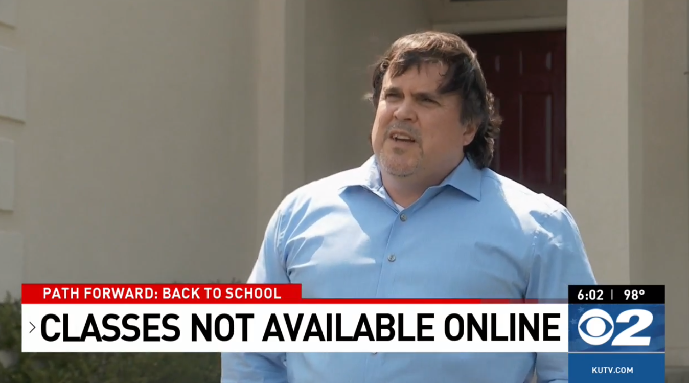 Tim Theisen of Draper found just one of the classes his son wants to take is available online — and none of the AP classes he'd chosen. He's in the Canyons School District, where about three-fourths of students plan to return to the classroom. (Photo: KUTV)