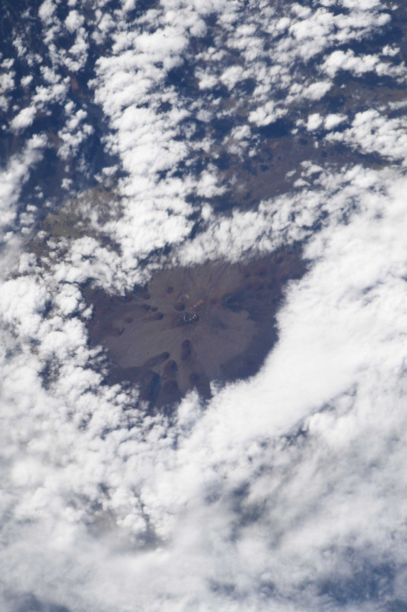 At 4200 m, high above the surrounding clouds, the summit of Hawaii?s Mauna Kea Volcano is home to a dense collection of giant telescopes ? visible from space!  (Photo & Caption David Saint-Jacques, NASA)