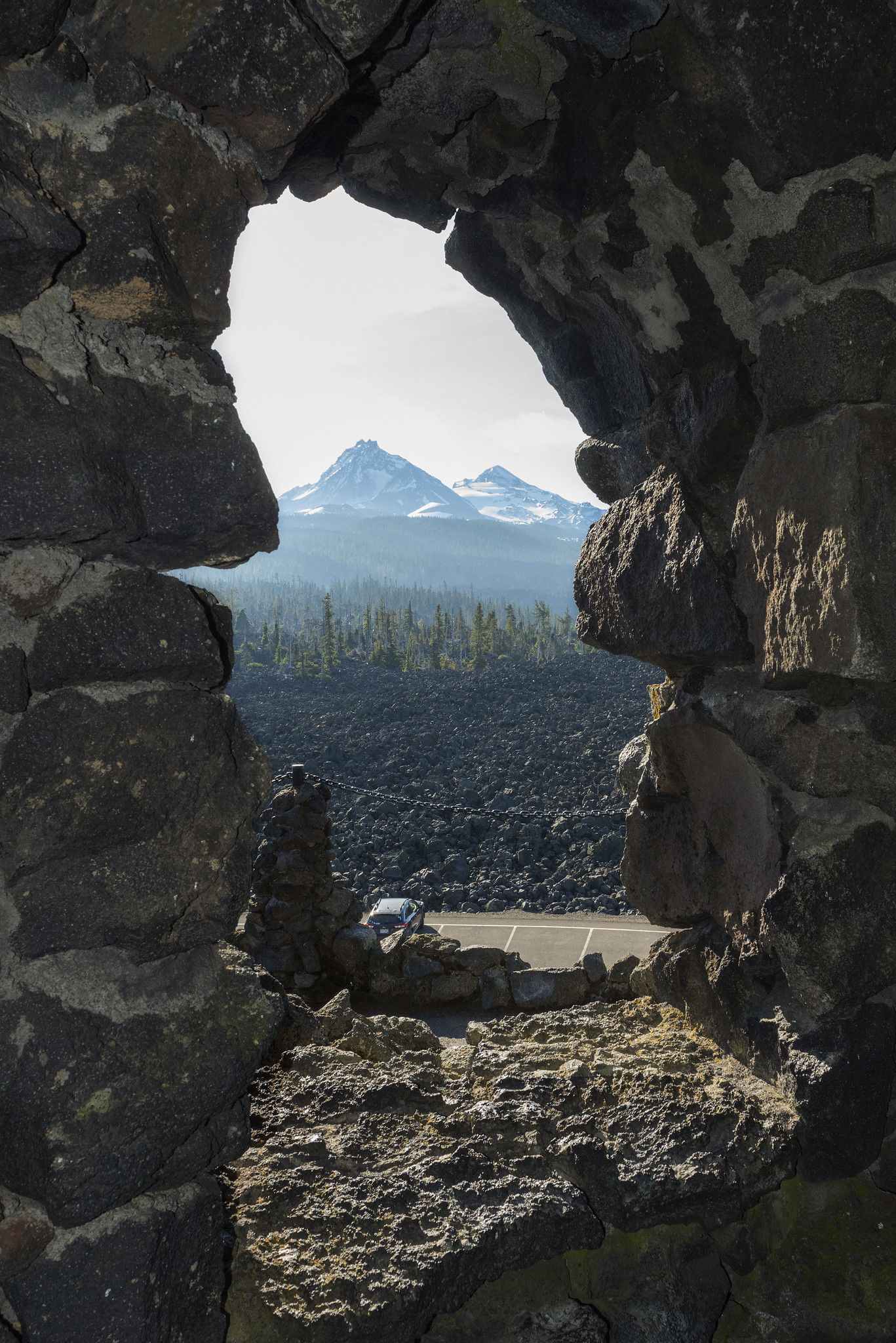 The Civilian Conservation Corps (CCC) built the Dee Wright Observatory in 1935 to provide outstanding views of mountains and volcanoes, still a popular attraction more than 80 years later. (Greg Westergaard, ODOT CC by 2.0)
