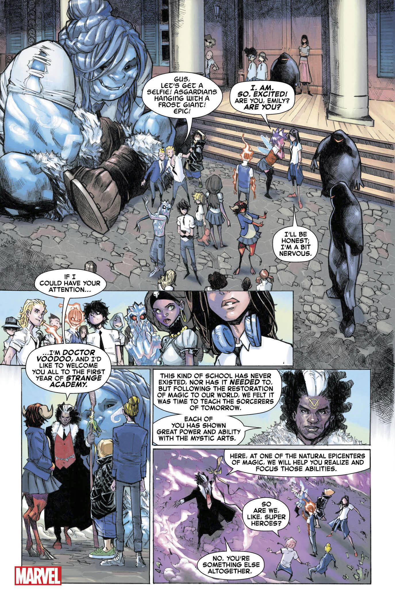 "This image released by Marvel shows a page from the upcoming ""Strange Academy"" comic book. Marvel announced Thursday that the comic about a New Orleans-based school for young people with mystical powers will debut in March. (Humberto Ramos/Marvel via AP)"