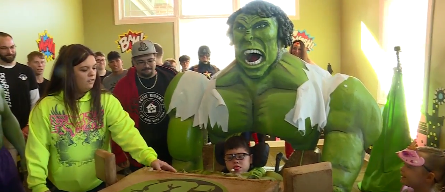 Students at Penn High School in Indiana created a Hulk costume for a local boy in a wheelchair. (WSBT)
