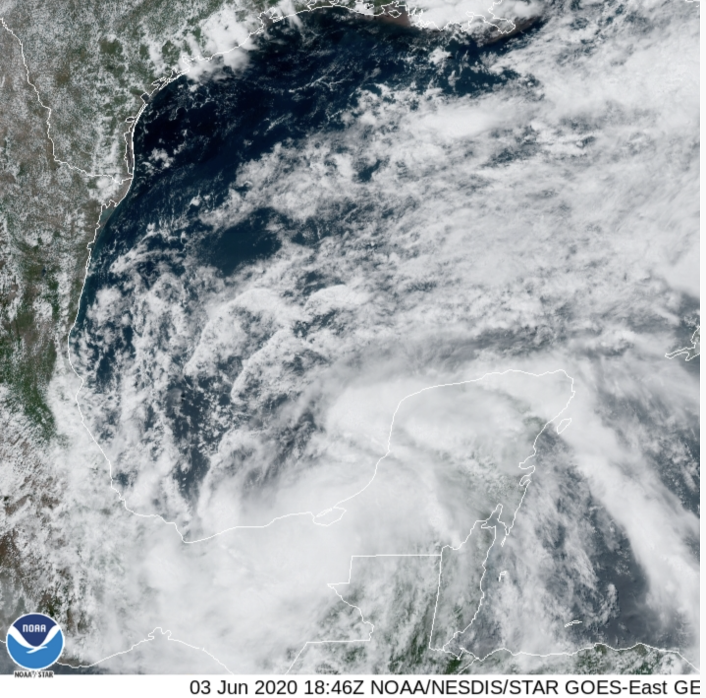 GOES-East - Sector view: Gulf of Mexico - June 3, 2020 at 1:46 p.m. EDT