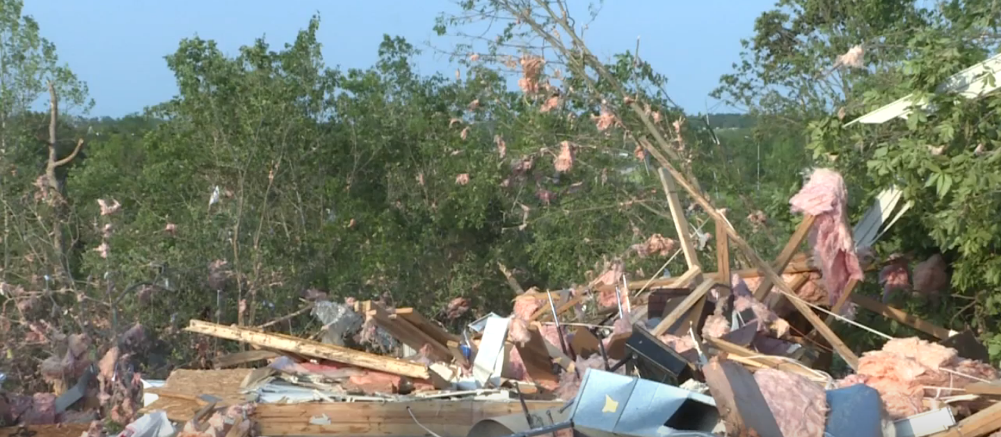 Damage from{ }devastating tornadoes in Missouri. // WSBT 22