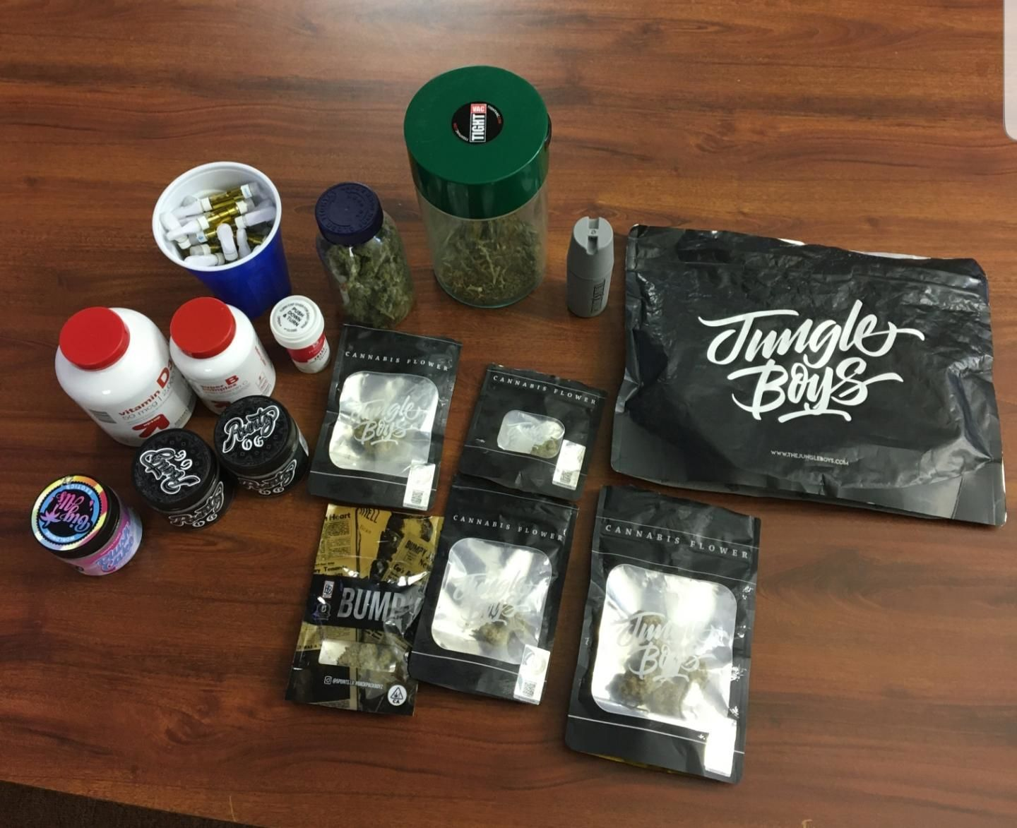 The Butler County Undercover Regional Narcotics Taskforce and US Postal Inspectors say they seized 952 tetrahydrocannabinol (THC) vaporizer cartridges, about 7 pounds of marijuana, hashish wax, $2,723 in cash, as well as THC products disguised as lip balm, Tootsie Rolls, cannabis syrup, and gummies. (Photo courtesy Butler County Sheriff's Office)