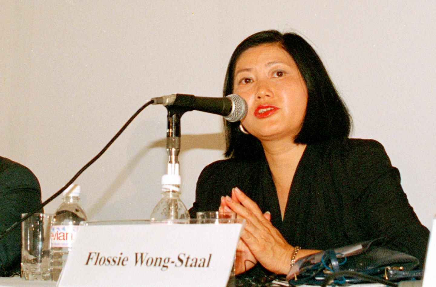 In this Aug. 10, 1994 photo, Dr. Flossie Wong-Staal of the University of California in San Diego, addresses a session of the 10th International Conference on AIDS in Yokohama, Japan. Wong-Staal is among 10 people who will be inducted into the National Women's Hall of Fame during a ceremony on Saturday, Sept. 14, 2019. (AP Photo/Koji Sasahara)