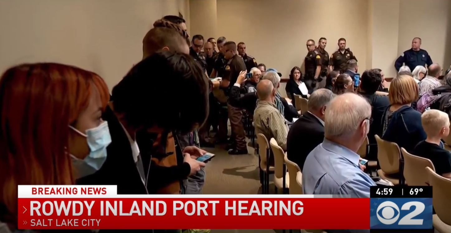 Extra security was ordered for a meeting of the Utah Inland Port Authority on Thursday in the basement of the Capitol building, at which public comment on the port project was allowed. (Photo: KUTV)