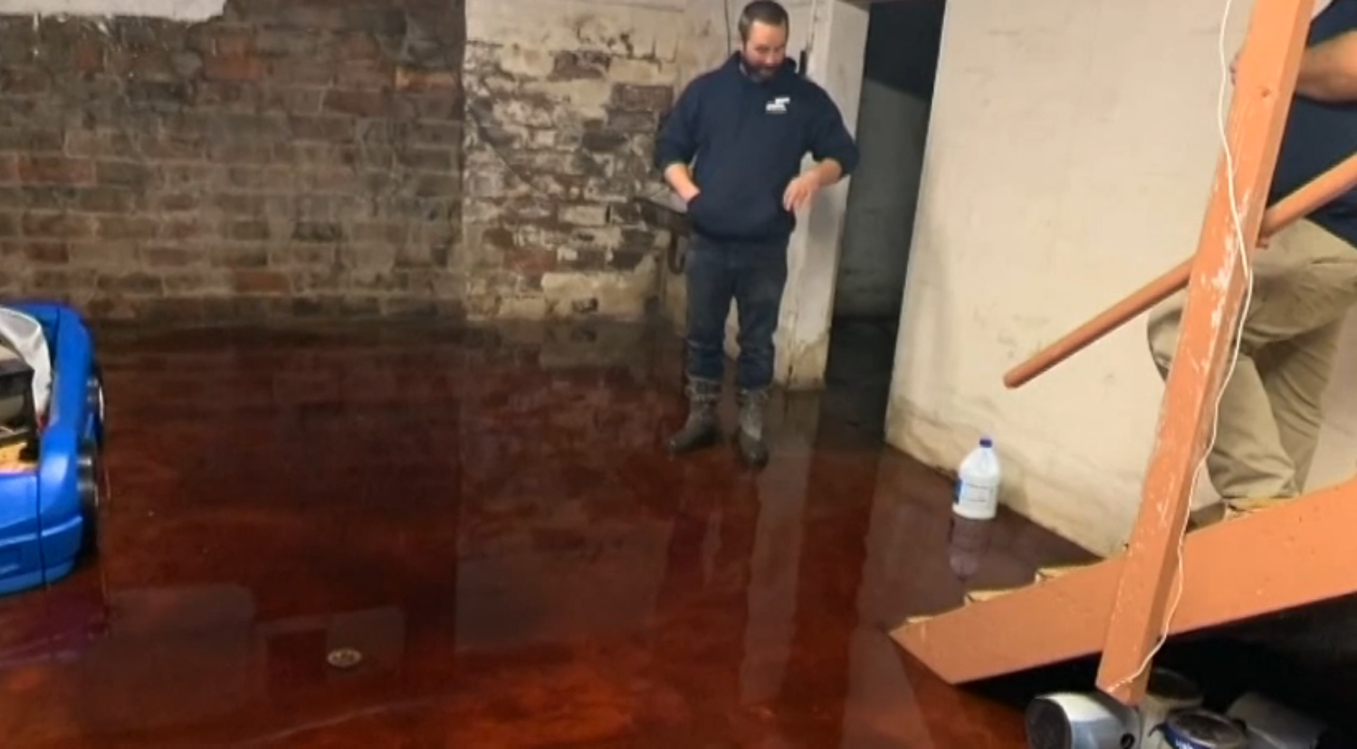 Home's basement filled with nearly 5 inches of animal blood as a result of drainage from a meat locker next door (CNN Newsource via WHO-DT)