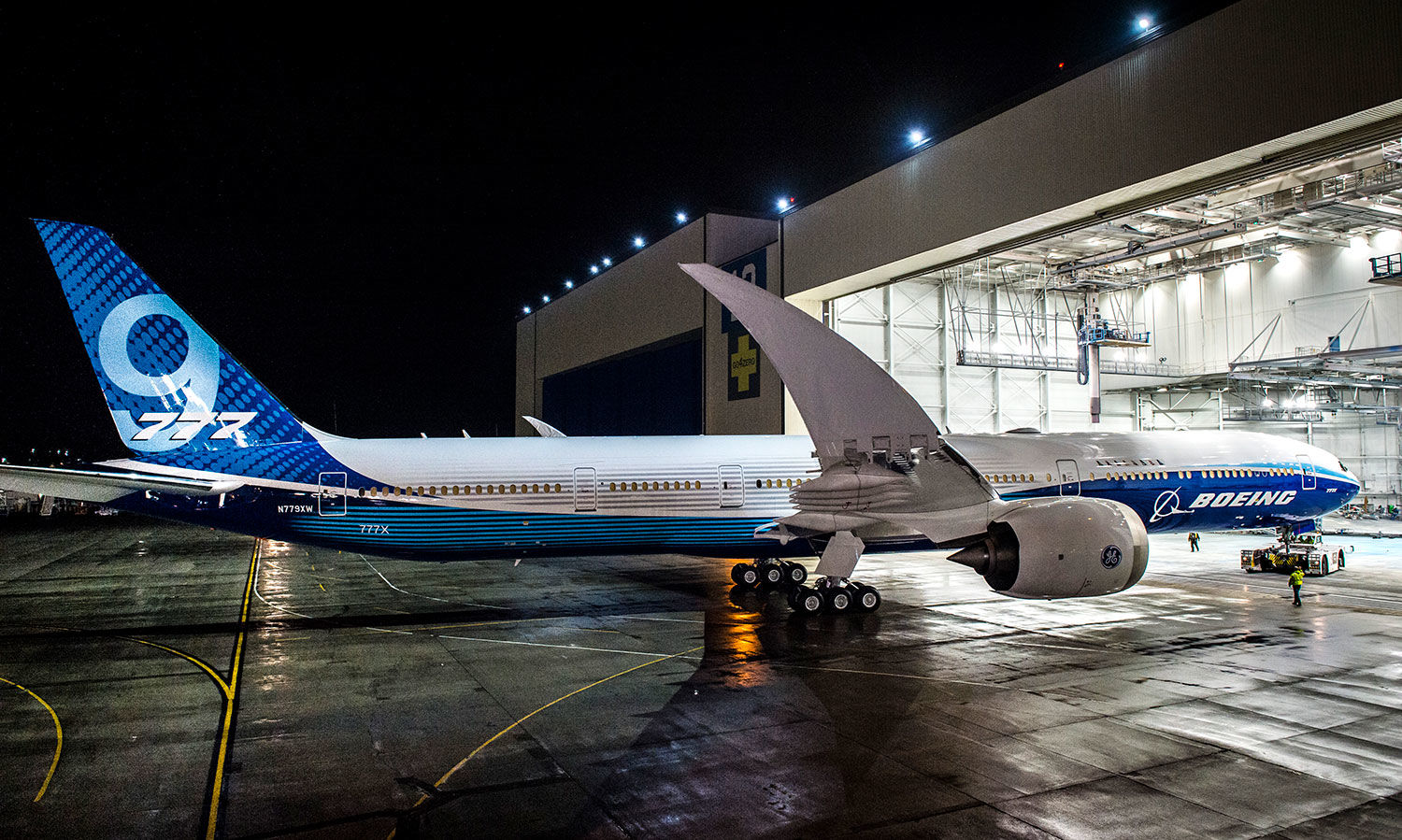 The new Boeing 777X is seen outside the assembly plant in Everett. (Boeing Photo)