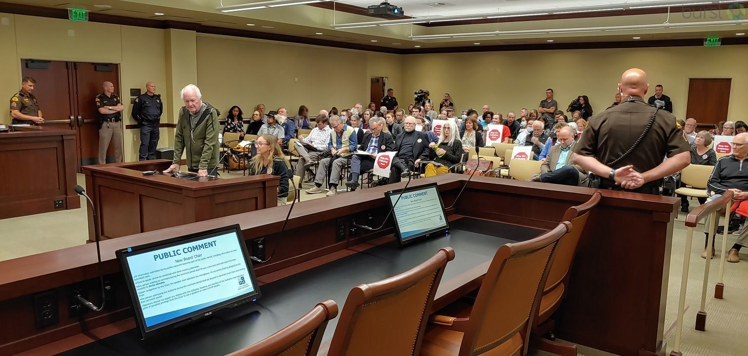Extra security was ordered for a meeting of the Utah Inland Port Authority on Thursday in the basement of the Capitol building, at which public comment on the port project was allowed. (Photo: Brian Morris / KUTV)