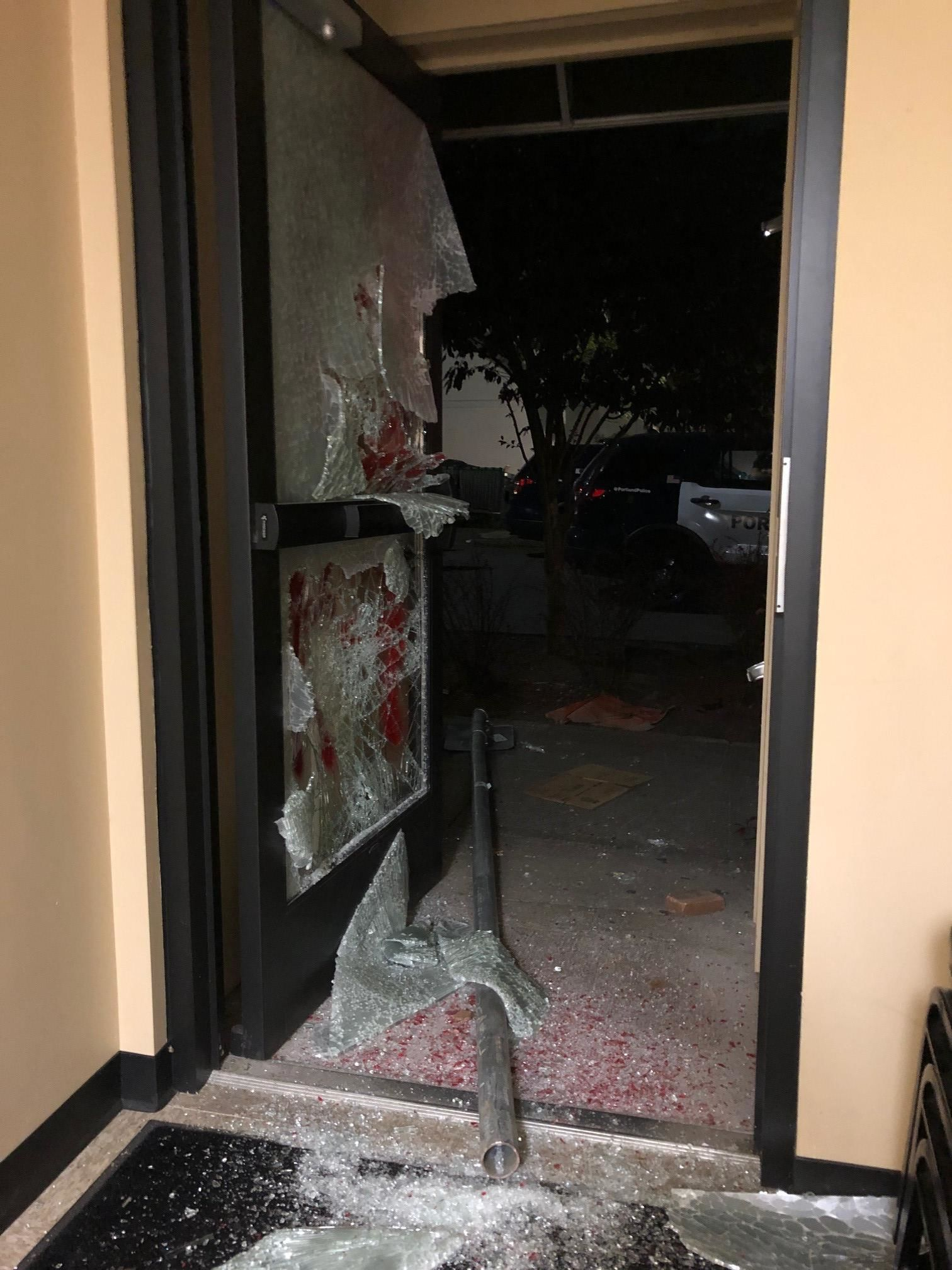 Photo shows damage to the Portland Police Association office building after a protest that started on August 4, 2020. Police said protesters broke into the building and set it on fire. Photo courtesy Portland Police Bureau{ }
