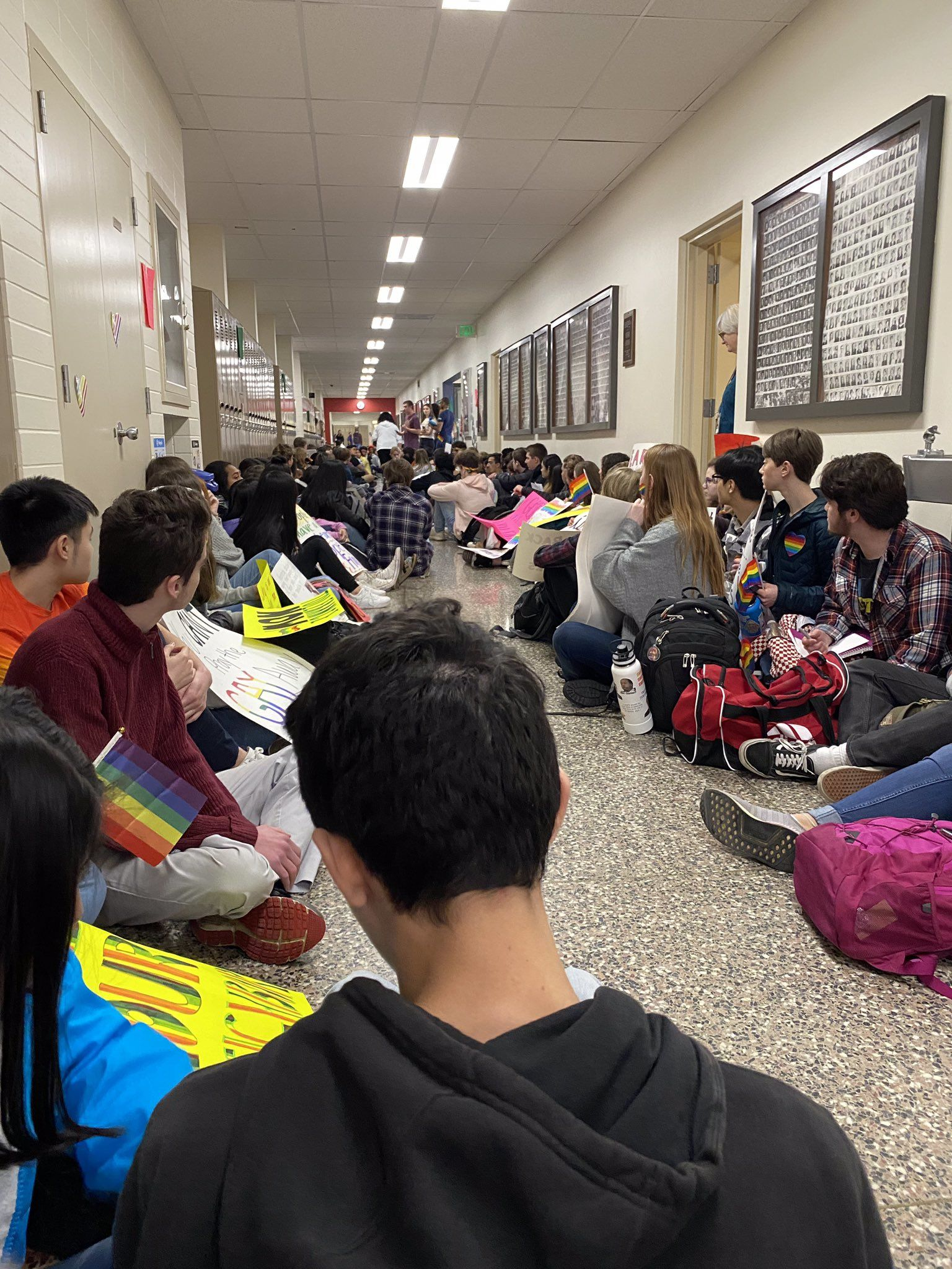 Students participate in a sit-in at Kennedy Catholic High School in Burien (KOMO News){ }