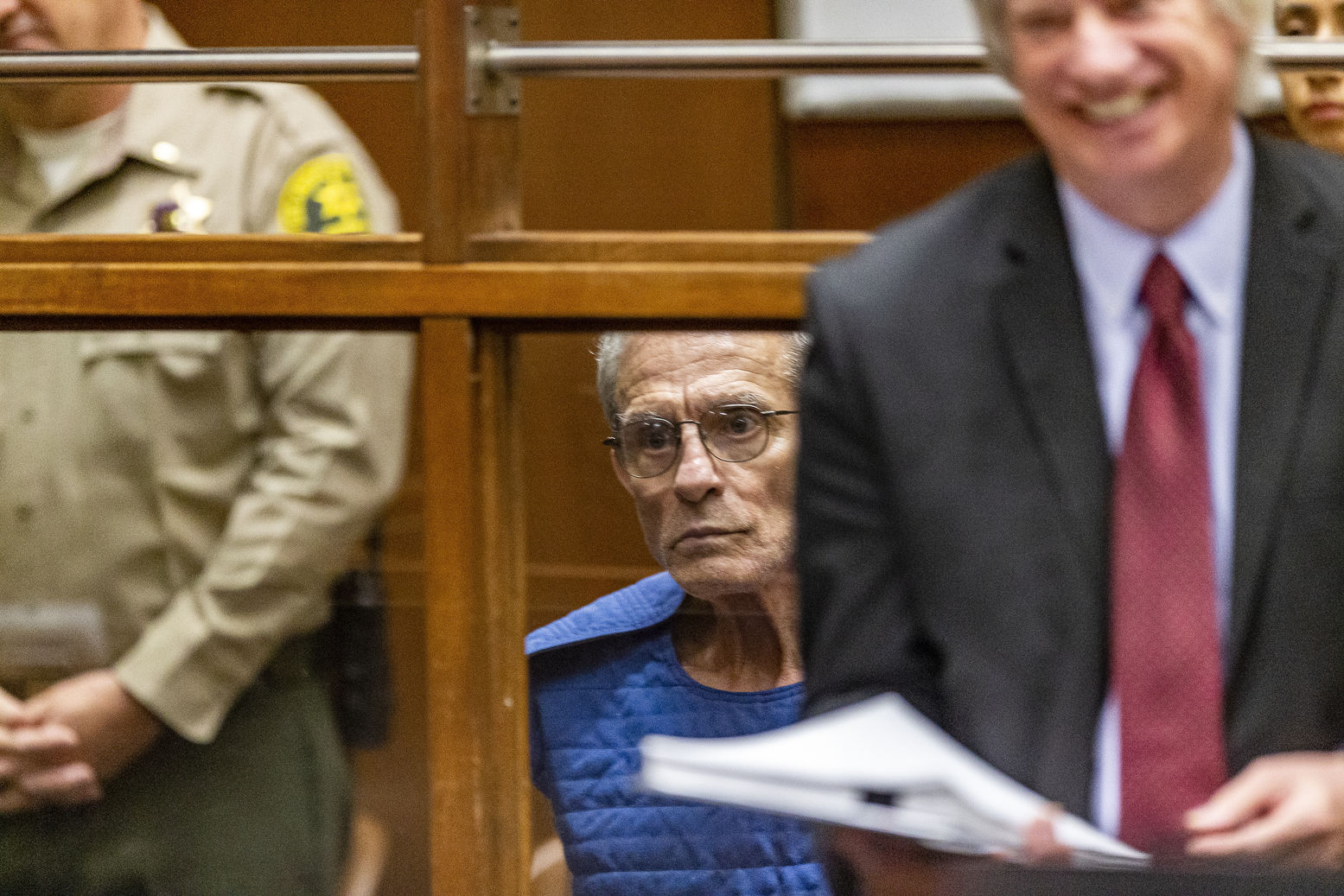 Edward Buck appears in Los Angeles Superior Court, Thursday, Sept. 19, 2019, in Los Angeles. The prominent LGBTQ political activist was arrested Tuesday and charged with operating a drug house and providing methamphetamine to a 37-year-old man who overdosed on Sept. 11, but survived, officials said. Two other men have died in his apartment since 2017. (AP Photo/Damian Dovarganes)
