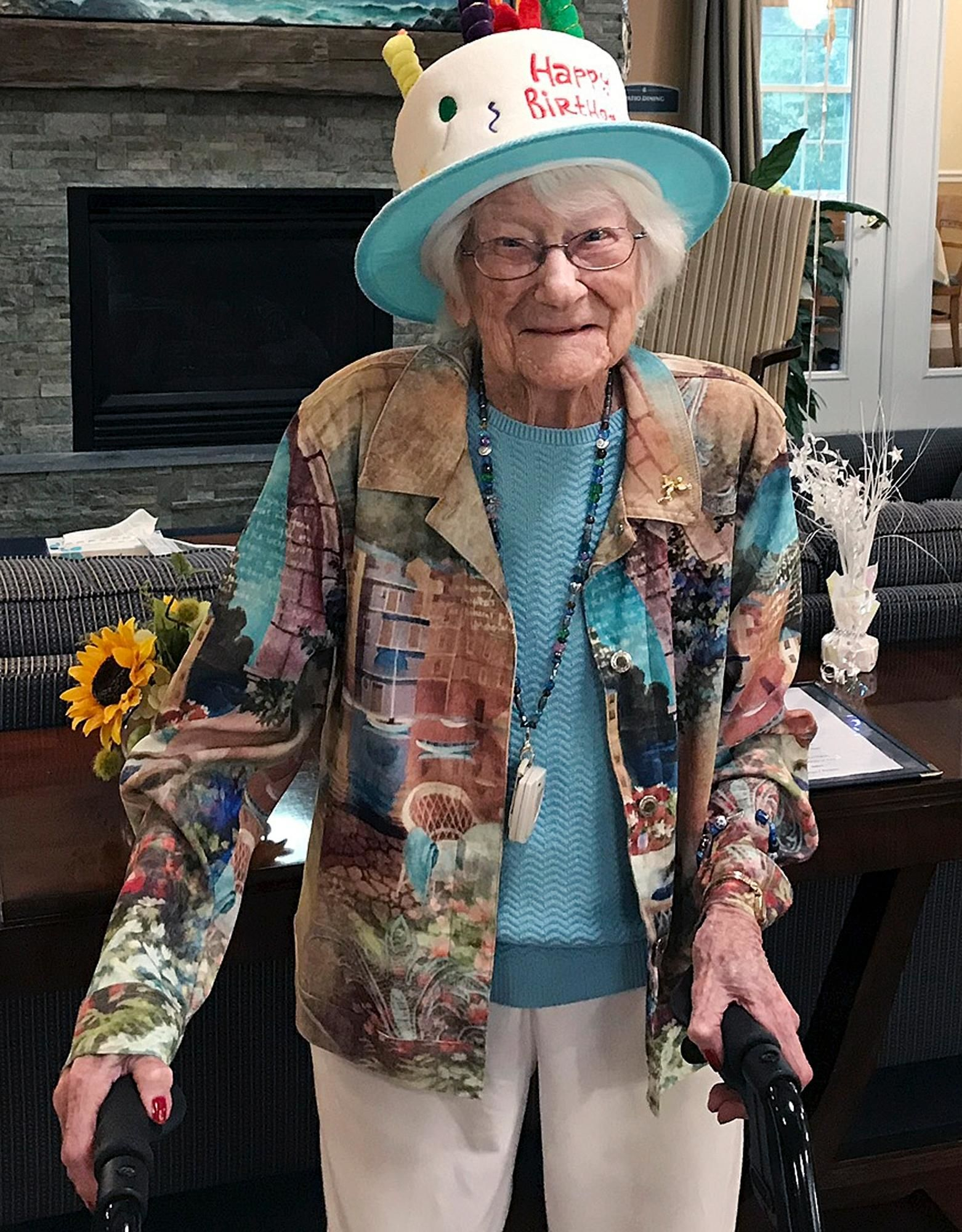In this photo provided by Tony Venti, Hazel Nilson celebrates her 111th birthday, Wednesday, Aug. 21, 2019, at Sunapee Cove in Sunapee, N.H.(Tony Venti via AP)