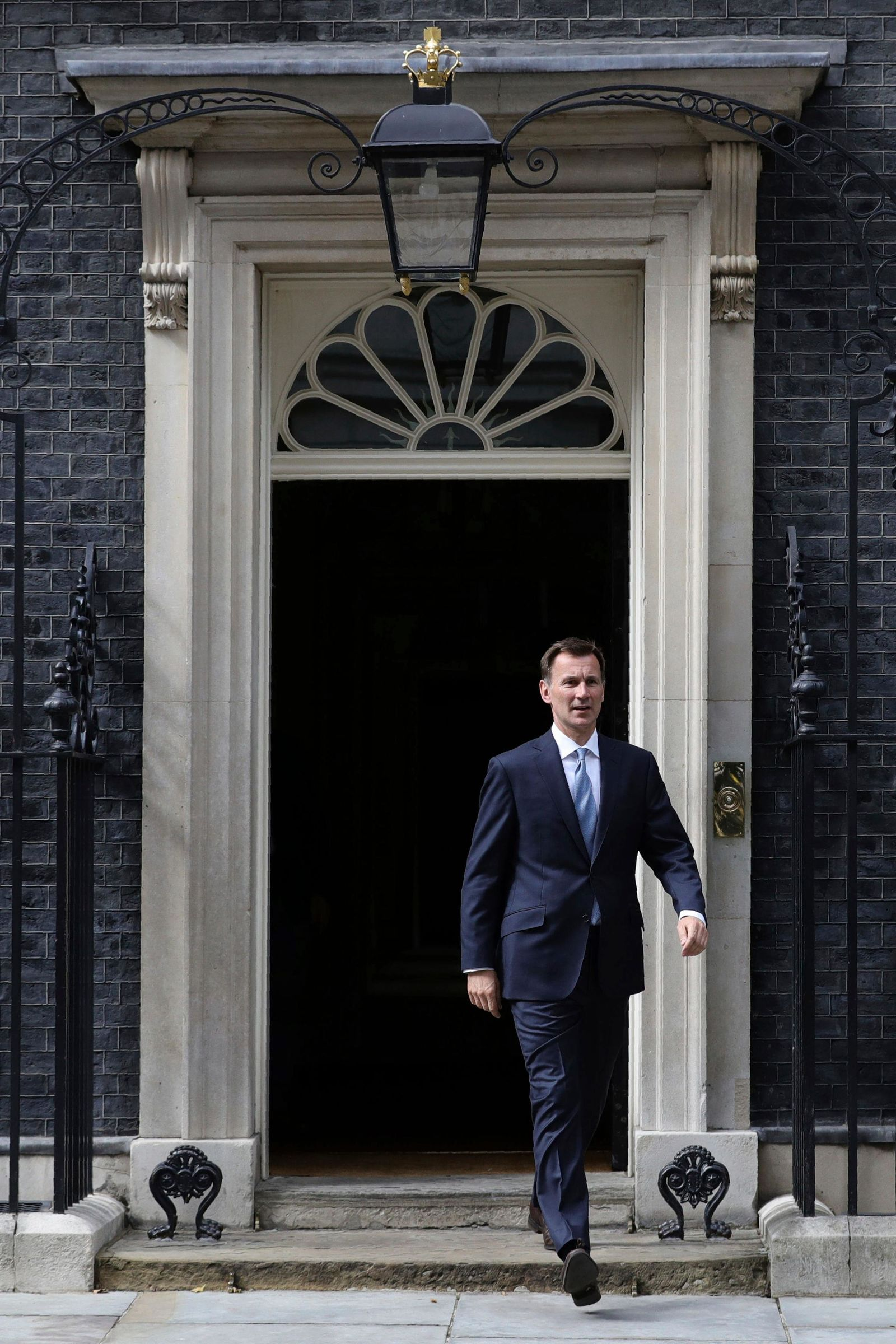 Britain's Foreign Secretary Jeremy Hunt leaves 10 Downing Street, following a meeting held over British oil tanker Stena Impero which was captured by Iran, Saturday July 20, 2019.(Aaron Chown/PA via AP)