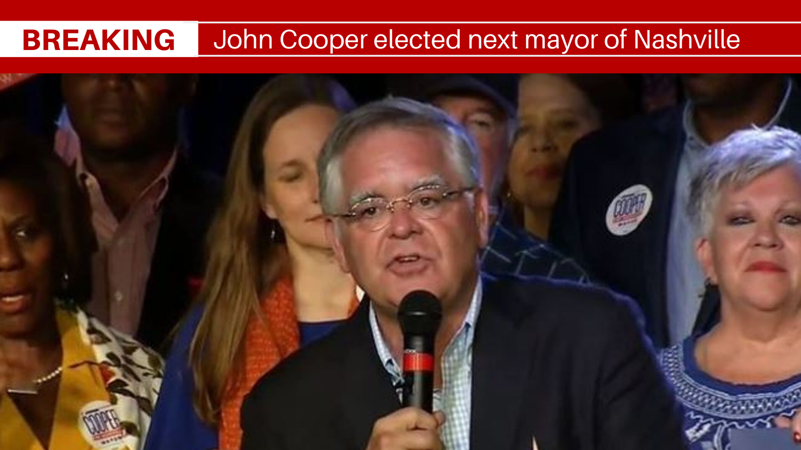John Cooper makes his acceptance speech after winning the Nashville mayoral runoff election. (FOX 17 News)