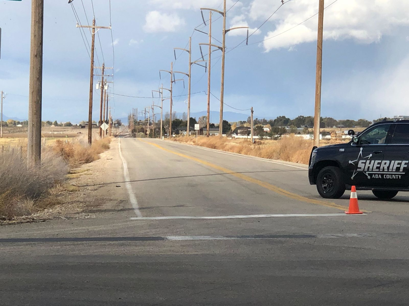 16 power poles are downed along Cloverdale Road in Kuna, Saturday afternoon. (CBS 2 News Staff Photo)<p></p>