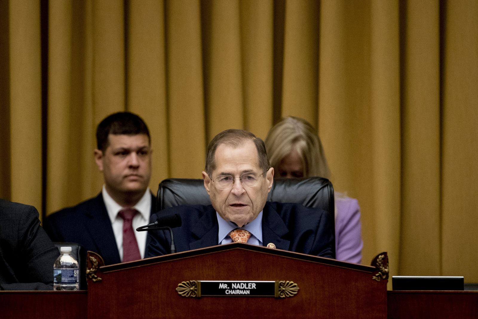 Judiciary Committee Chairman Jerrold Nadler, D-N.Y., speaks at a House Judiciary Committee hearing without former White House Counsel Don McGahn, who was a key figure in special counsel Robert Mueller's investigation, on Capitol Hill in Washington, Tuesday, May 21, 2019. President Donald Trump directed McGahn to defy a congressional subpoena to testify but the committee's chairman, Rep. Jerrold Nadler, D-N.Y., has threatened to hold McGahn in contempt of Congress if he doesn't appear. (AP Photo/Andrew Harnik)