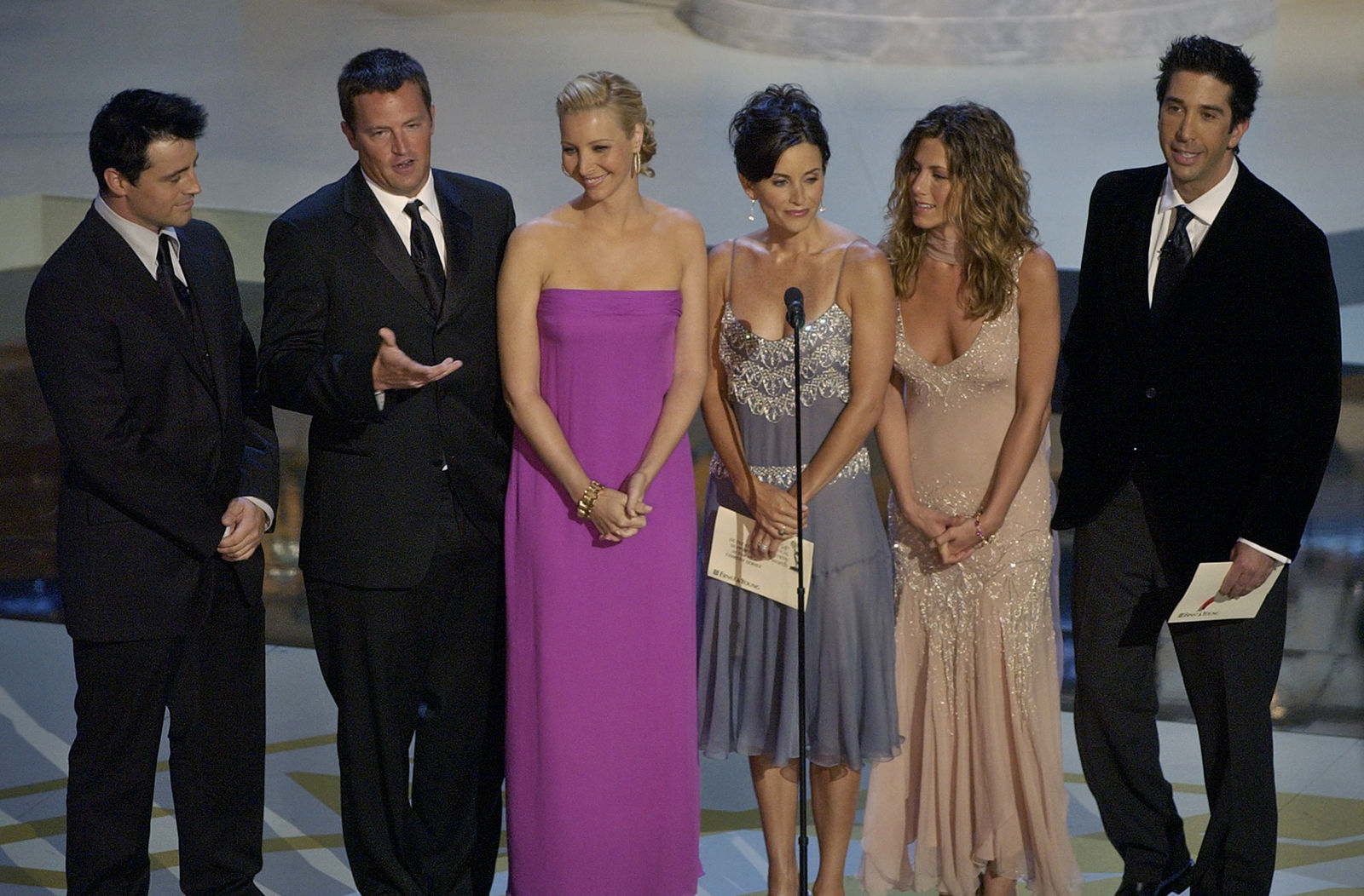 "FILE - In this Sept. 22, 2002, file photo the cast of television's ""Friends"", from left: Matt LeBlanc, Matthew Perry, Lisa Kudrow, Courteney Cox Arquette, Jennifer Aniston and David Schwimmer appear during the 54th Annual Primetime Emmy Awards at the Shrine Auditorium in Los Angeles. AT&T is pulling ""Friends"" from Netflix to beef up its own upcoming streaming service. (AP Photo/Kevork Djansezian, File)"