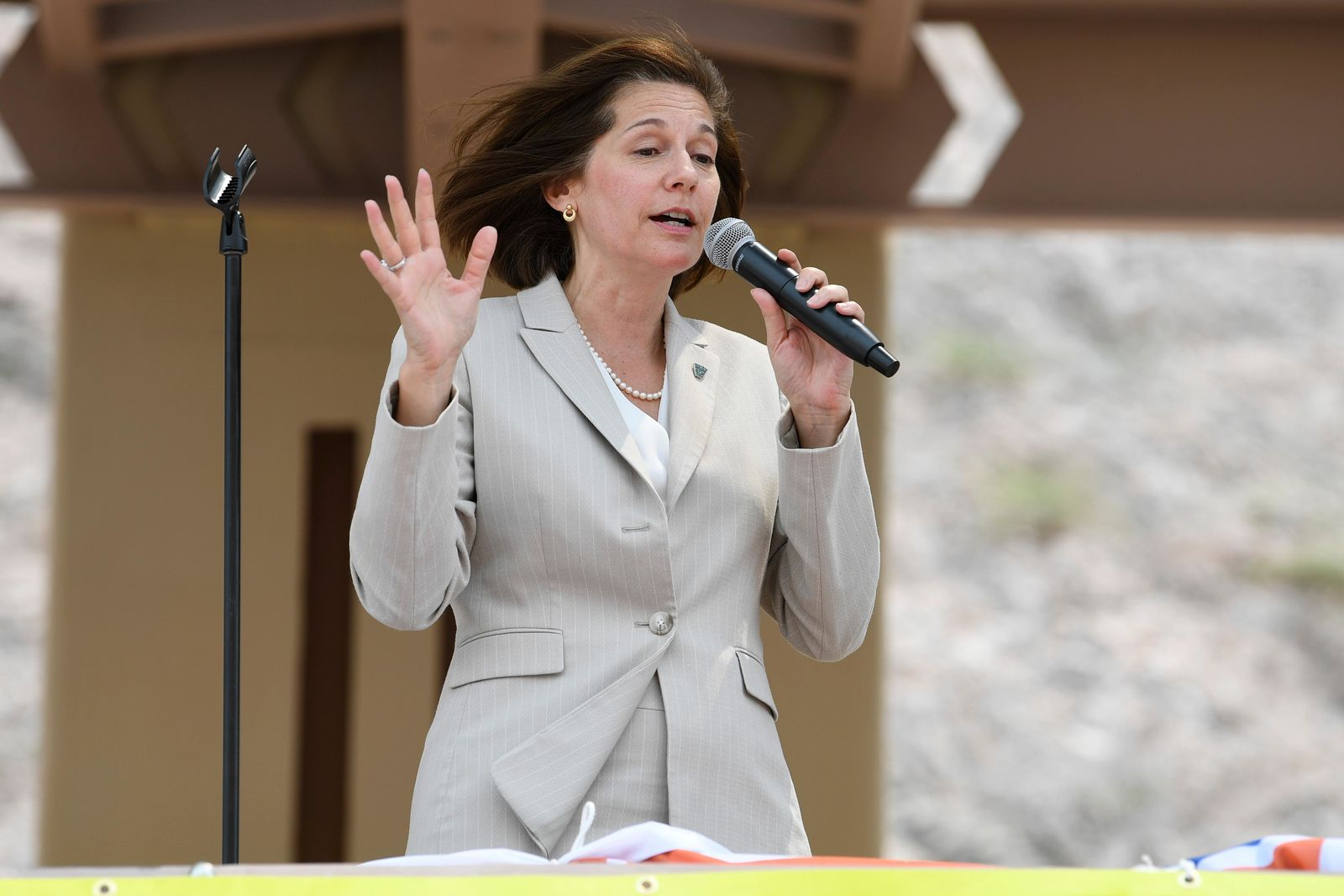 Sen. Catherine Cortez Masto, D-Nev., speaks during the grand opening of a new section of Interstate 11 Thursday, August 9, 2018, in Boulder City. The section, also referred to as the Boulder City Bypass, marks the official start of the I-11 project between Las Vegas and Phoenix. CREDIT: Sam Morris/Las Vegas News Bureau
