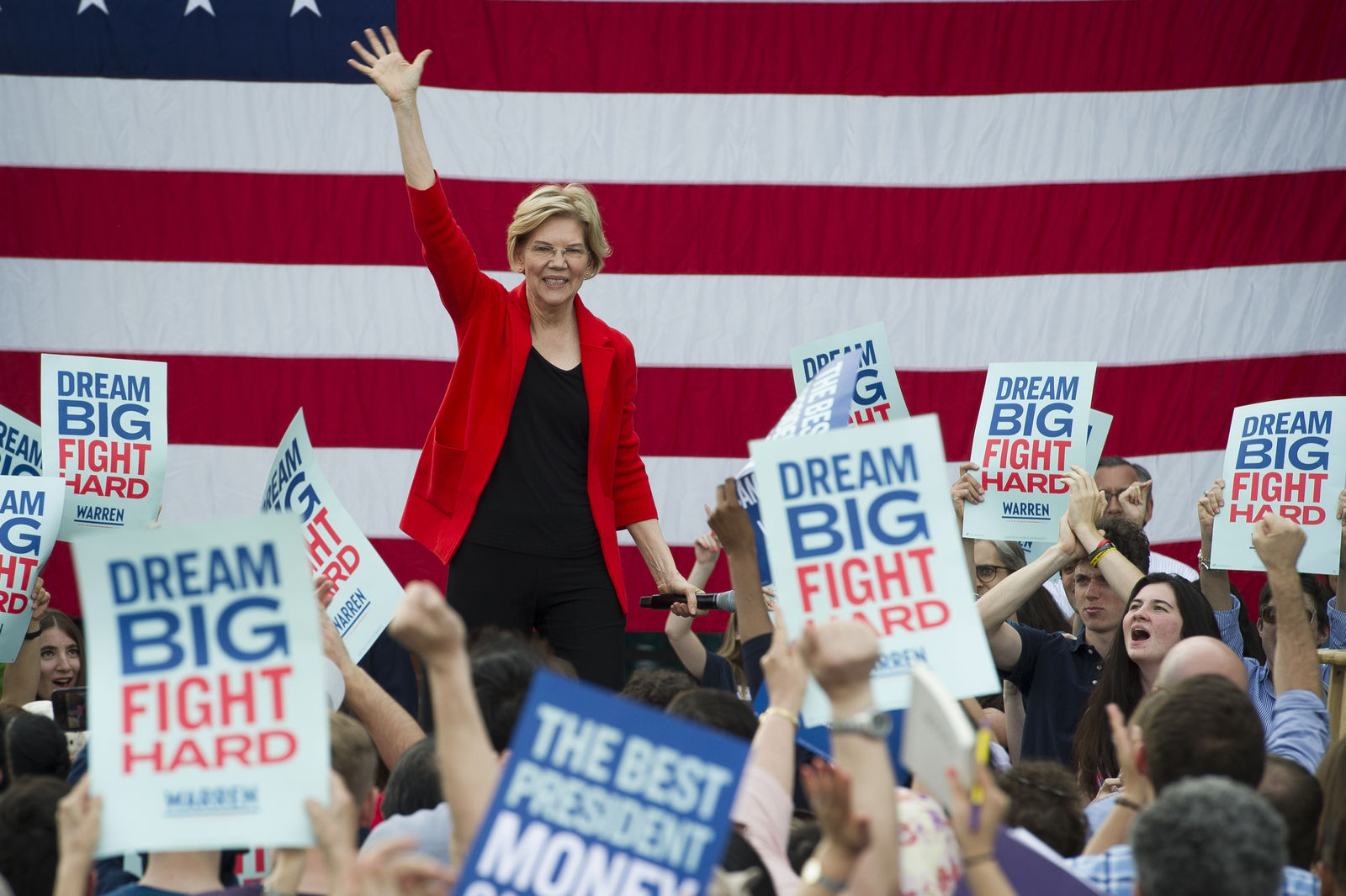 In this May 16, 2019, photo, Democratic presidential candidate Sen. Elizabeth Warren, D-Mass., addresses a campaign rally at George Mason University in Fairfax, Va. (AP Photo/Cliff Owen)