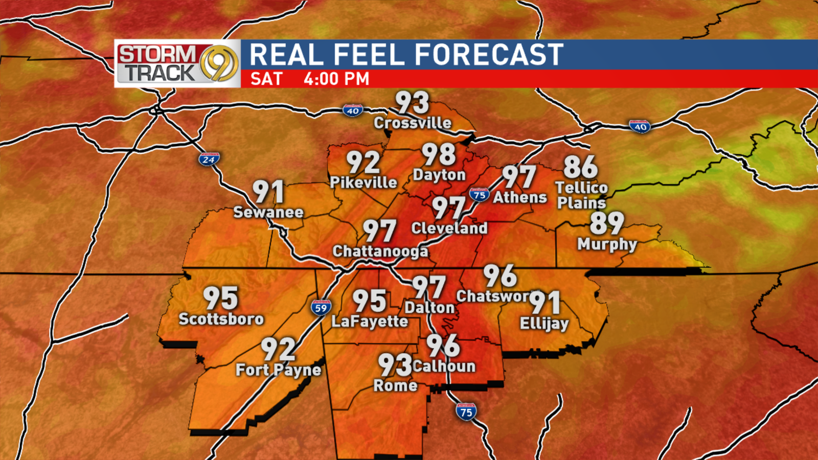 Saturday Afternoon Heat Index