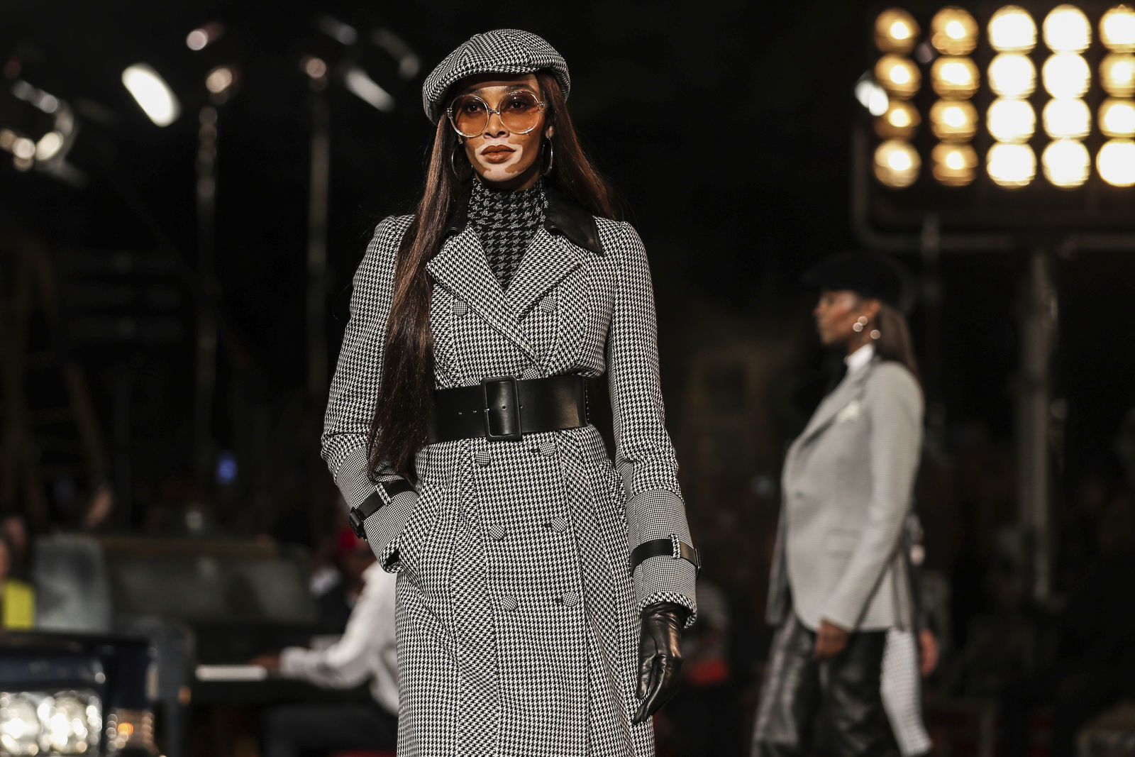 Winnie Harlow models the Tommy Hilfiger collection during Fashion Week in New York, Sunday, Sept. 8, 2019. (AP Photo/Jeenah Moon)