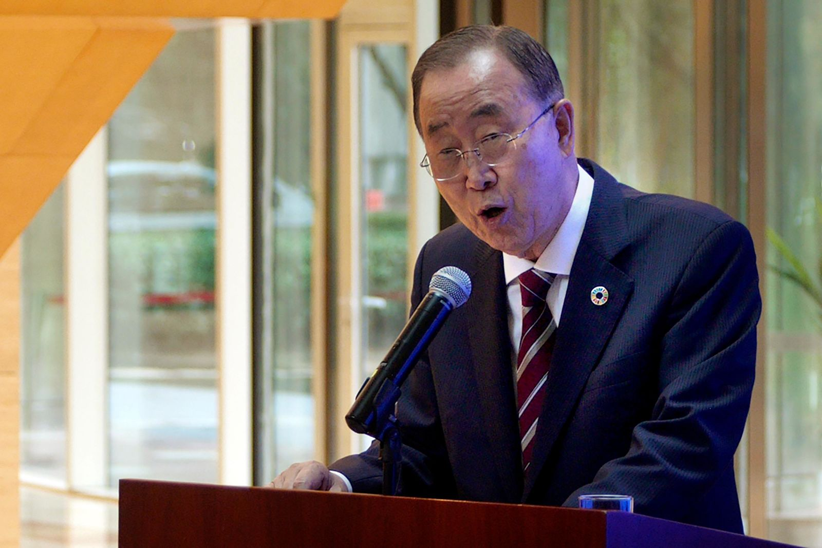 Former U.N. Secretary-General Ban Ki-moon speaks during a press conference for the release of a report on adapting to climate change in Beijing, Tuesday, Sept. 10, 2019.{ } (AP Photo/Sam McNeil)