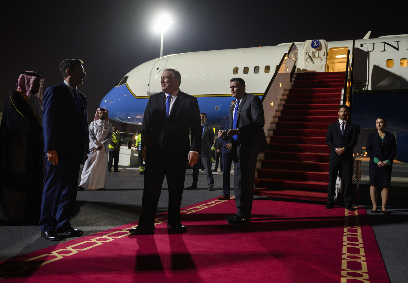 U.S. Secretary of State Mike Pompeo, prepares to depart from Doha, Qatar, Sunday, Jan. 13, 2019. (Andrew Caballero-Reynolds/Pool Photo via AP)