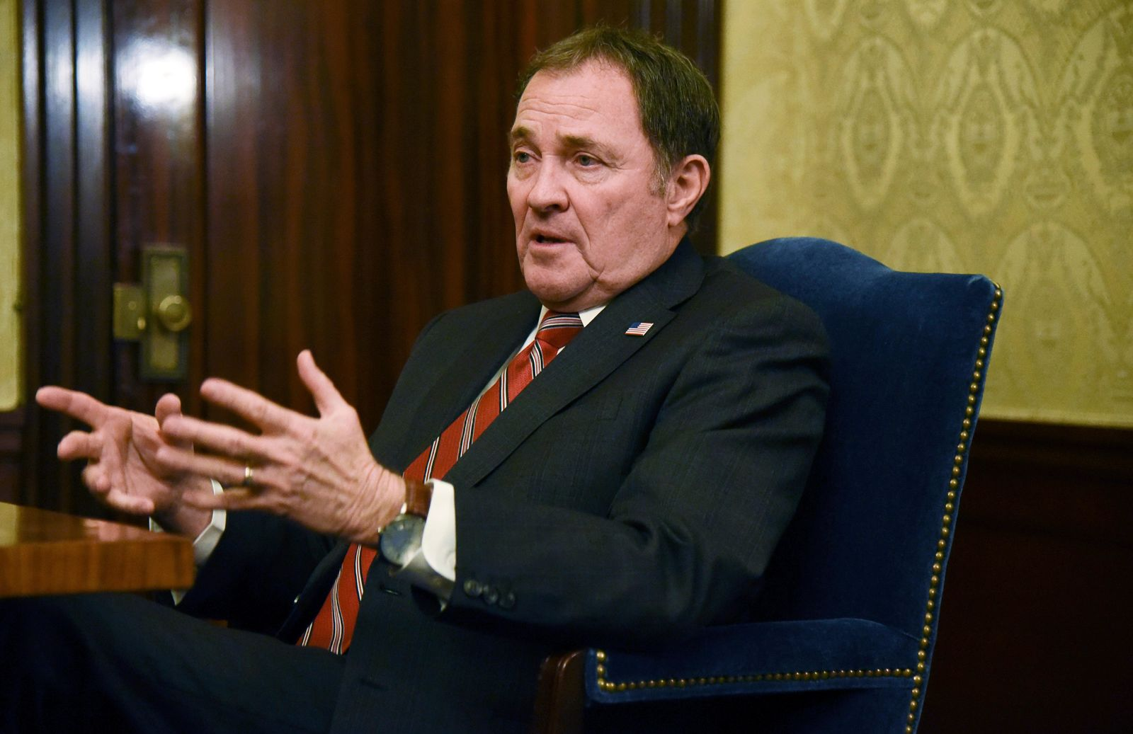 FILE - In this March 14, 2019, file photo, Utah Gov. Gary Herbert speaks during an interview on the final day of the legislative session at the Utah state Capitol in Salt Lake City. (Francisco Kjholseth/The Salt Lake Tribune via AP, File)