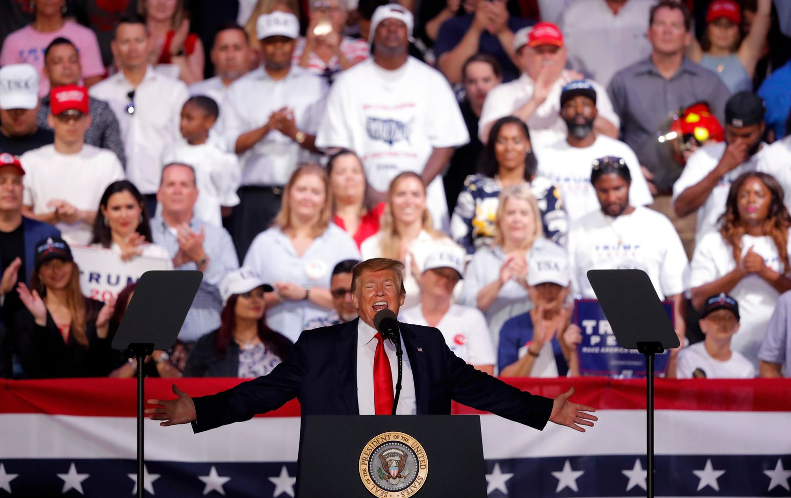 In this May 8, 2019, photo, President Trump speaks at a rally in Panama City Beach, Fla. (AP Photo/Gerald Herbert)