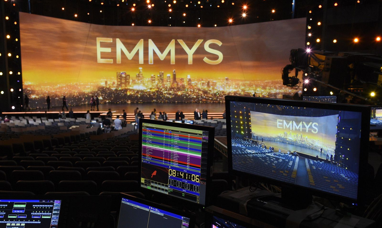 A video monitor displays the stage for Sunday's 71st Primetime Emmy Awards during Press Preview Day, Thursday, Sept. 19, 2019, at the Microsoft Theater in Los Angeles. (Photo by Chris Pizzello/Invision/AP)
