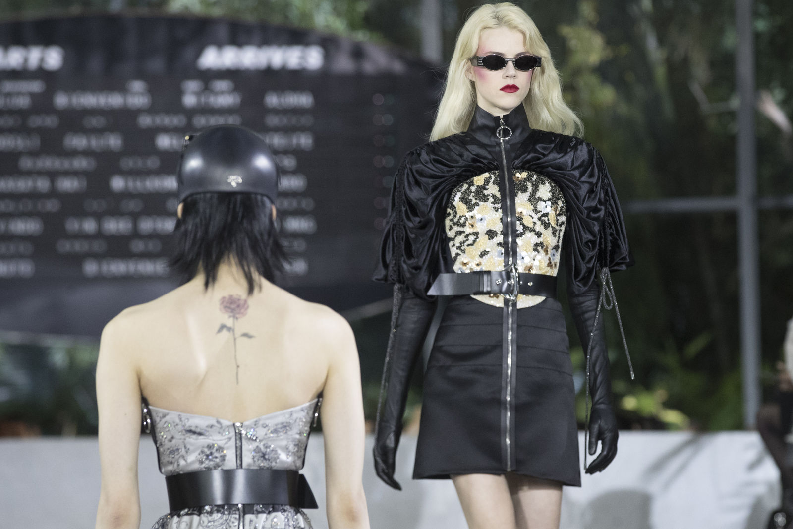 A model walks the runway during the Louis Vuitton Cruise 2020 collection presentation, Wednesday, May 8, 2019, in New York. (AP Photo/Mary Altaffer)