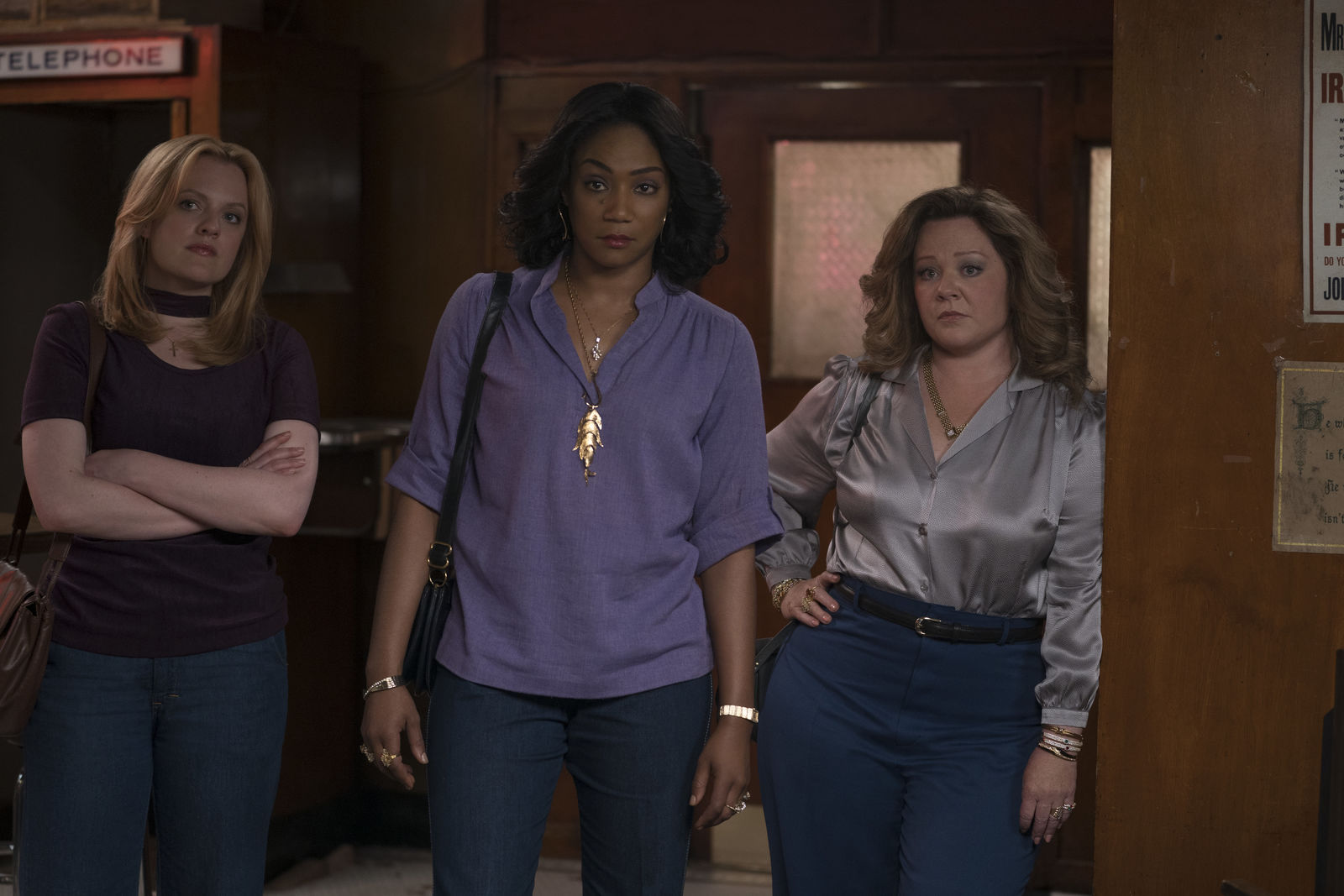 "(L-R) ELISABETH MOSS as Claire, TIFFANY HADDISH as Ruby and MELISSA McCARTHY as Kathy in New Line Cinema's mob drama ""The Kitchen,"" a Warner Bros. Pictures release. (Photo: Warner Bros.){ }"