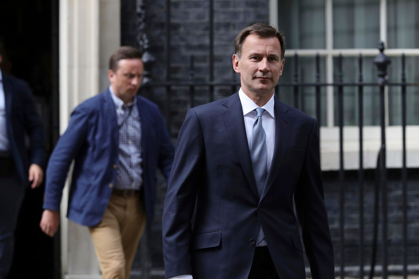 "Britain's Foreign Secretary Jeremy Hunt leaves 10 Downing Street, following a meeting held over British oil tanker Stena Impero which was captured by Iran, Saturday July 20, 2019.  Hunt has said Britain's response to Iran's seizure of a British-flagged ship in the Strait of Hormuz ""will be considered but robust.""(Aaron Chown/( / PA via AP)"