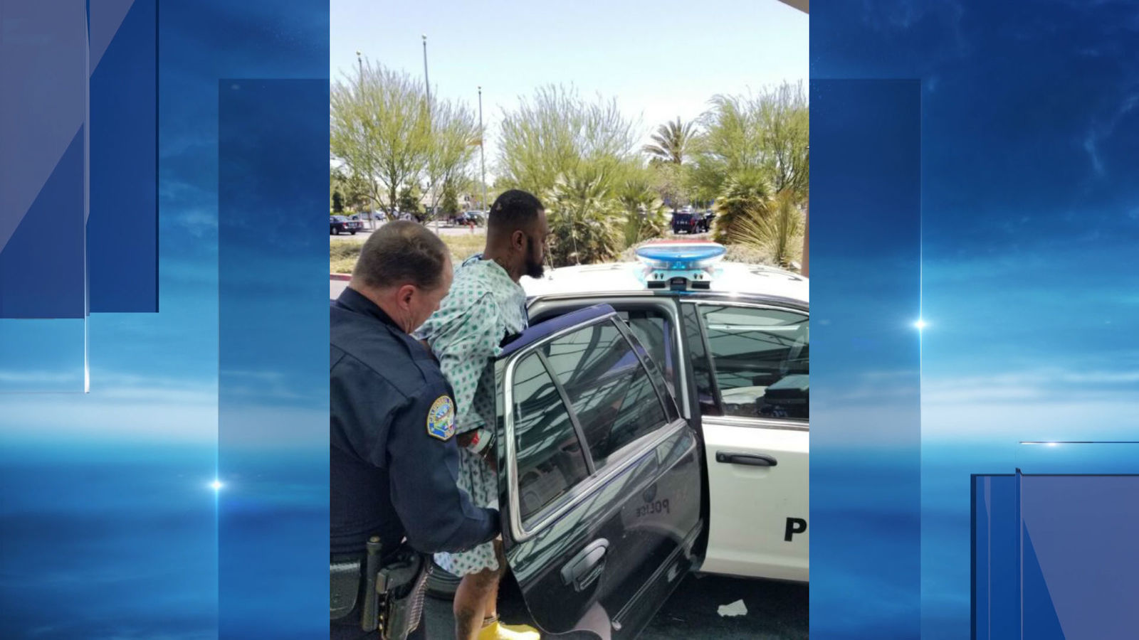 Officers in California City, Calif. arresting{ }31 year-old Keith Zeldon who is suspected of being under the influence during a car crash involving an ambulance. Photo provided by the California City Police Department Saturday, April 28, 2018.{ }