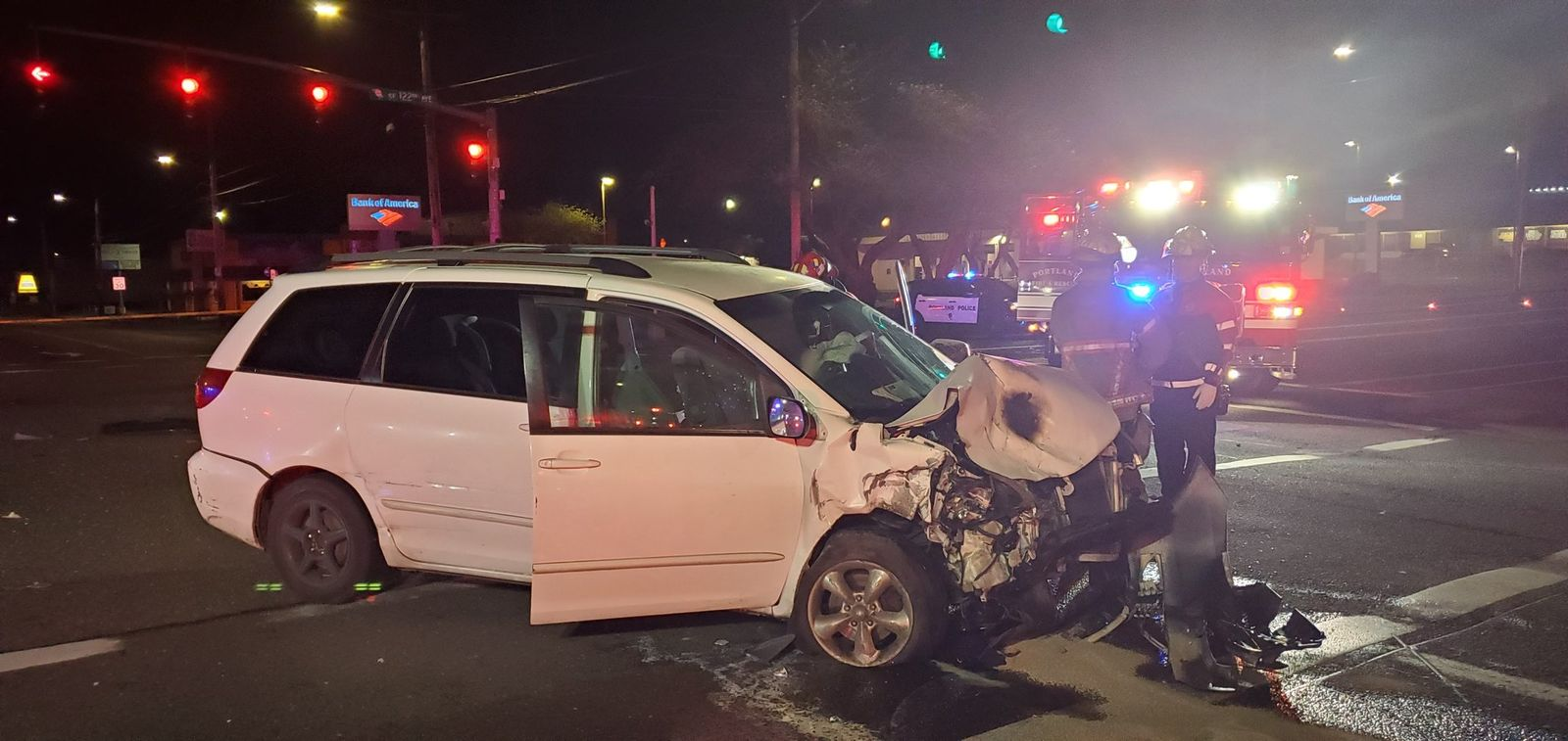 Police say three people were seriously injured in a crash in Southeast Portland on April 23, 2019. Photo courtesy Portland Police Bureau