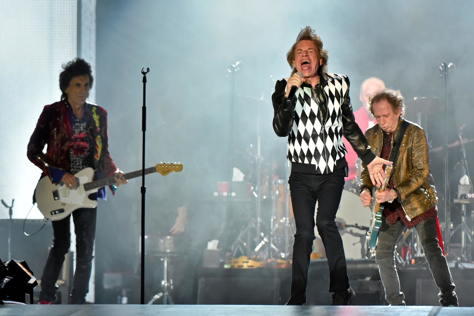 "Mick Jagger,  Charlie Watts, and Keith Richards of The Rolling Stones performs during the ""No Filter"" tour at Soldier Field on Friday, June 21, 2019, in Chicago. (Photo by Rob Grabowski/Invision/AP)"