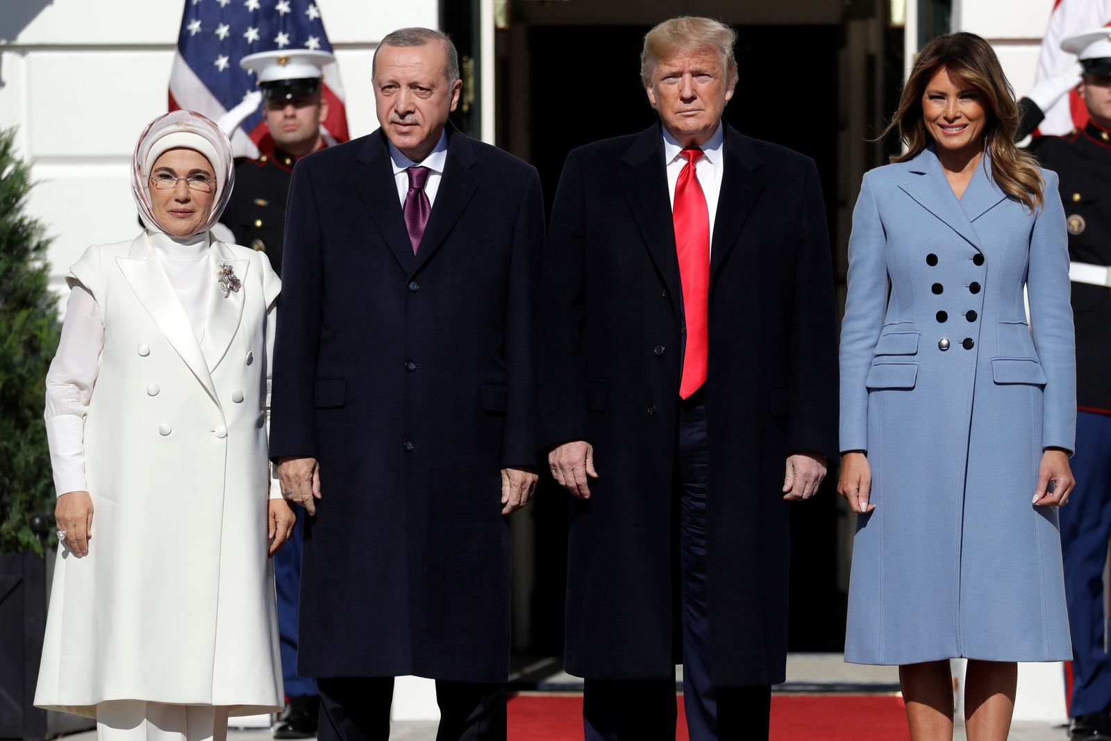 President Donald Trump and first lady Melania Trump welcome Turkish President Recep Tayyip Erdogan and his wife Emine Erdogan to the White House, Wednesday, Nov. 13, 2019, in Washington. (AP Photo/ Evan Vucci)