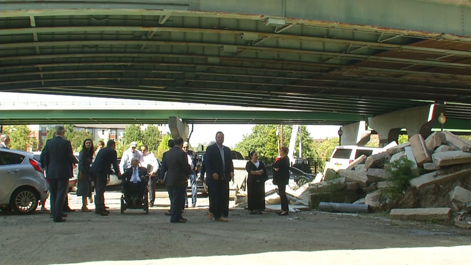 Rhode Island Department of Transportation Director and members of the congressional delegation hold a news conference under the Providence Viaduct, Friday, Sept. 13, 2019. (WJAR)